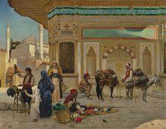 RUDOLF ERNST - A fonte de Ahmed III, Istambul - Óleo sobre painel - 63,5 x 81,9 - 1892