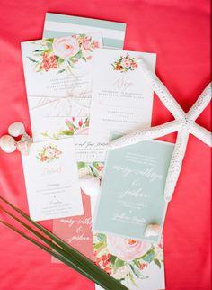 Beautiful Beach Destination Invitation Design Captured by Amanda Watson Photography | Mary Cathryn + Josh | Brides of Oklahoma #bridesofok #wedding #oklahoma