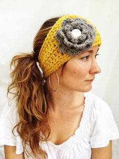 Central Park HEAD WRAP - Gold, Gray, White, Adujstable, Thick, Classy, Crochet, Handmade, Women, Gift, Holiday, Fashion, Trendy, Headwarmer.. $29.00, via Etsy.