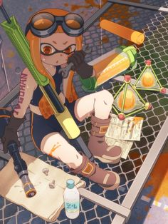 1girl artist_request bike_shorts black_gloves boots brown_boots chestnut_mouth gloves goggles goggles_on_head heart holding inkling long_hair mask open_mouth orange_eyes orange_hair pain sitting solo splatoon sweat tank_top wrench