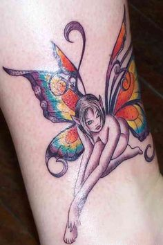 Fairy Tattoo # 87 - Sexy fairy tattoo with sexy colorful wings. Pin & like:)