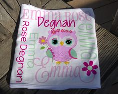 Personalized Owl Baby Blanket - Owl Receiving Blanket for Girls - Flower Owl Baby Name Blanket - Newborn Swaddling Blanket - Baby Photo Prop Owl Baby Blankets, Elephant Baby Blanket, Receiving Blankets, Soft Blankets, Swaddle Blanket, Monkey Girl, Monkey Baby, Personalized Baby Blankets