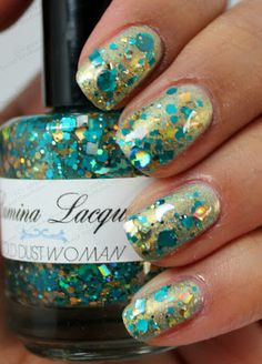 Swatch by Sweet Southern Haze - Lumina Lacquer Gold Dust Woman