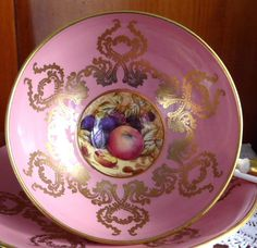 Ornate Cup And Saucer Aynsley Pink Gold Overlay Fruit Center Bone China - Antiques And Teacups - 1 Tea Cup Set, My Cup Of Tea, Tea Cup Saucer, Vintage China, Vintage Teacups, Fruit Cups, Teapots And Cups, Noritake, Chocolate Pots