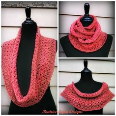 Amazing Grace Crochet Scarf  ~ This is GORGEOUS! I want to crochet this for myself, which doesn't often happen with me. I love that it's so adjustable. I can't stand things that are too tight, or close around my neck, so this is perfect for me & I need it to keep warm this Winter.
