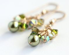 Elven Forest Cluster Earrings with olive green Swarovski crystals, light green Swarovski pearls, and gold fill. By OpheliasJewels, $20.00