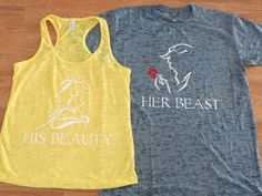 Free Shipping for US His Beauty and Her Beast Couples burnout shirts.Slate Blue and Yellow(White Decal)