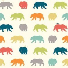 SALE: Birch Fabrics Just for Fun Cotton Bear Hike Multicolor Fabric - 1/2 YD on Etsy, $8.25