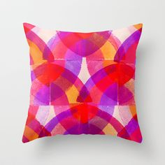 Press print and digital purple arches pattern Throw Pillow by Sarah Bagshaw - $20.00