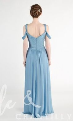 Long Pleated Chiffon Bridesmaid Dress with Slit TBQP450