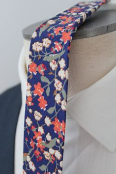 Items similar to Bright Navy Floral Necktie on Etsy