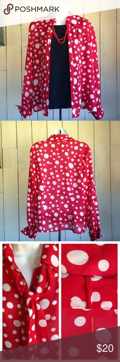 "Sheer Polka Dot Blouse with Matching Scarf Classic polka dots never go out of style. This fun and flirty sheer blouse comes with a detachable scarf that would also look darling tied in your hair or around a pony tail. 100% polyester, hand wash, hang dry. Bust- 21"", length - 24"". Sleeves are made so that you can fold them up a turn or wear completely down. Please let me know if you have any questions 😊 Christie and Jill Tops Blouses"