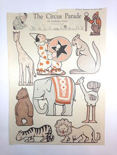 The Circus Parade. edition of McCall's Magazine. This sheet of original, uncut, paper dolls. was originally published in the June 1920. Paper Dolls. is in nice condition. The top of the page has been slightly cut.   eBay!