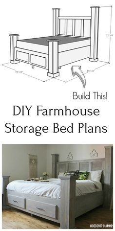 Diy Storage Bed, Bed Frame With Storage, Storage Drawers, Tool Storage, Diy Bett, Woodworking Furniture Plans, Woodworking Projects, Wood Projects, Free Woodworking Plans