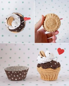 Wiped cream chocolate biscuit crochet cupcake. By I am a Mess