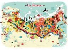 Nathalie Ragondet, illustrated map of Russia #map #russia