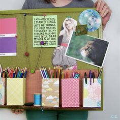 Make these cute little organizer boxes out of cereal boxes and scrapbook paper!