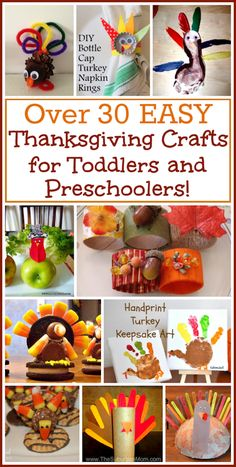 There are tons of Easy Thanksgiving crafts and ideas for Thanksgiving crafts for toddlers. I've rounded up the best in a list with over 30 easy crafts! #thanksgivingcrafts