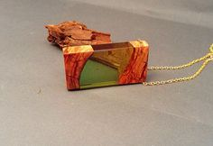 Resin necklace Epoxy resin wood and resin pendant Olive green