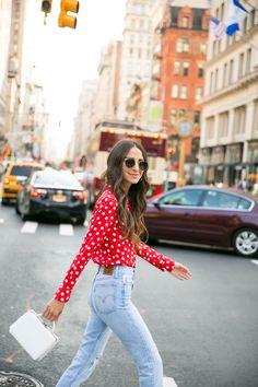 Red Polka Dot Shirt - Something Navy