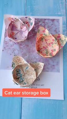 Cool Paper Crafts, Paper Crafts Origami, Origami Cat, Cute Crafts, Diy Paper, Oragami, Origami Boxes, Diy Crafts Hacks, Diy Crafts For Gifts