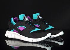 Nike Huarache Free  Black Black-Tropique-Magenta  Free Running Shoes b493a300f4