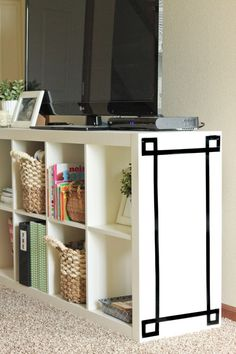 spruce up shelves with black vinyl electrical tape