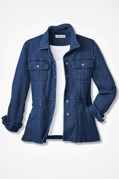 Knit Denim Jacket Bright  hue knit denim jacket with a slimmer silhouette for a more flattering fit. And in our soft knit denim, it has terrific stretch, comfort and style.  #knitDenim #DenimJacket #tailoredJacket #allweatherJacket #WomenJAcket #WomenPlus #PetiteWomenFashion