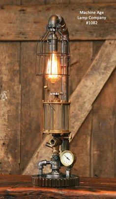 Steampunk Industrial Steam Gauge Lamp, Brass Oiler #1082