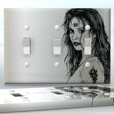 DIY Do It Yourself Home Decor - Easy to apply wall plate wraps | Daughter of Witch  Tattooed girl image  wallplate skin sticker for 3 Gang Toggle LightSwitch | On SALE now only $5.95