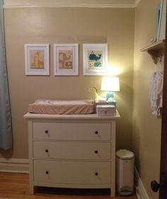Neutral Baby Nursery with @Petit Collage prints @Ikea Hemnes dresser
