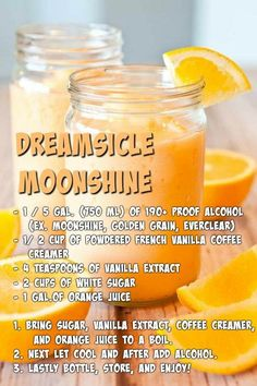 Dreamscicle Moonshine 🍺 I wonder if this is as good as the orange beer drink thing at Longhorn. Liquor Drinks, Fun Drinks, Yummy Drinks, Alcoholic Drinks, Brunch Drinks, Cocktail Drinks, Party Drinks, Homemade Alcohol, Homemade Liquor