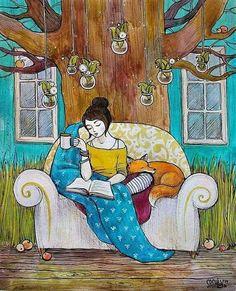 Lecture avec un thé et un renard.