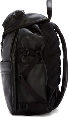 Alexander McQueen: Black Leather Techno Clip Ribcage Backpack | SSENSE #ssense #alexandermcqueen