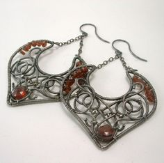 Red Garnet Gemstone Artisan Wire Wrapped Argentium Dangle Earrings