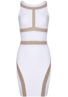 White Sleeveless Contrast Trims Bodycon Dress $49.5