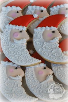 Santa Moon Cookie - no directions, just follow picture for an idea on decorating with Royal Icing.