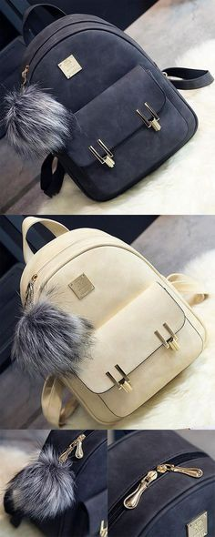 Fashion Frosted PU Zippered School Bag With Metal Lock Match Backpack for big sale! #metal #Lock #Match #Backpack #Bag #college #student