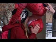Spider-Man Kissing Prank. I totally would have kissed Spider-Man!