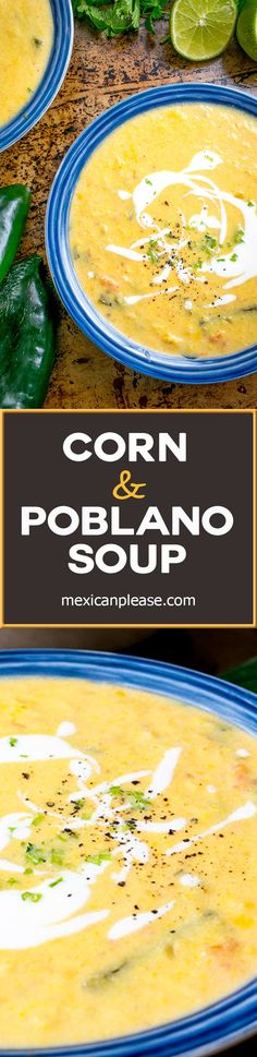 This Corn and Poblano Soup has a perfect balance between the corn and the roasted poblanos. A drizzle of cream and a final dash of acidity turn it into a repeat! P.S. Finely diced cilantro stems are my new favorite garnish. So good! mexicanplease.com