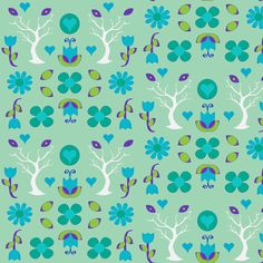 swede flower forest blue half drop fabric by sadiejdesigns on Spoonflower - custom fabric