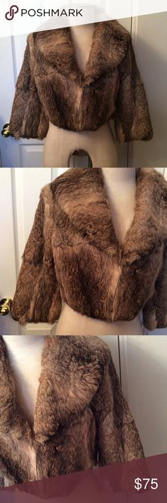 "Rabbit fur crop coat. Arden B.  Large.  NWOT, NO FLAWS.   17"" in length.  38"" bust.   My mannequin is 36"" bust, 28"" waist.  I think this would best fit a medium. Arden B Jackets & Coats"