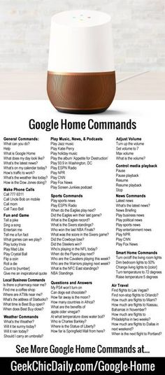 Google Home Commands, Tips, and Hacks - GeekChicDaily.com - 2017
