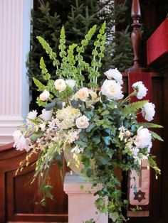 Church Flower Arrangements | The client asked for white and green leaving the flower choices up to ...