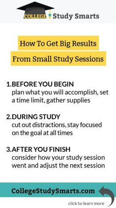 How to Get Big Results from Small Study Sessions - College Study Smarts Exam Study Tips, School Study Tips, Study Skills, Study Habits, Back To University, State University, College Fun, College Hacks, College Life