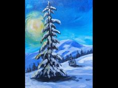 Winter Landscape Step by Step Acrylic Painting on Canvas for Beginners - YouTube