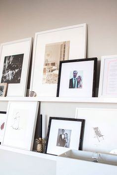 Ashley Kane's Sophisticated Gray And Gold Home Tour Family Photo Frames, Collage Picture Frames, Rose Gold Frame, Grey And Gold, Grey Walls, Display Shelves, Home Decor Inspiration, House Tours, Living Spaces