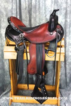 TWO TONE WESTERN TRAIL WITH GAITED BARS BY ALLEGANY MOUNTAIN TRAIL SADDLES! #westernsaddle #trailsaddle #customsaddle