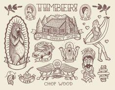 Timber Flash by Chad Eaton Cabin Tattoo, Tatoo Nature, Illustration Arte, Tatto Love, Traditional Tattoo Art, Screen Print Poster, Diy Tattoo, Tattoo Pics, Tattoo Outline