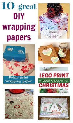 Great ideas for homemade wrapping paper - plus homemade presents to go inside!
